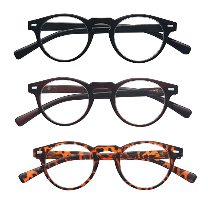 2916b8788ae2 Amazon.com: Outray Vintage Inspired Small Round 3 Pairs Spring Hinges Frame  Reading Glasses 1.00: Clothing