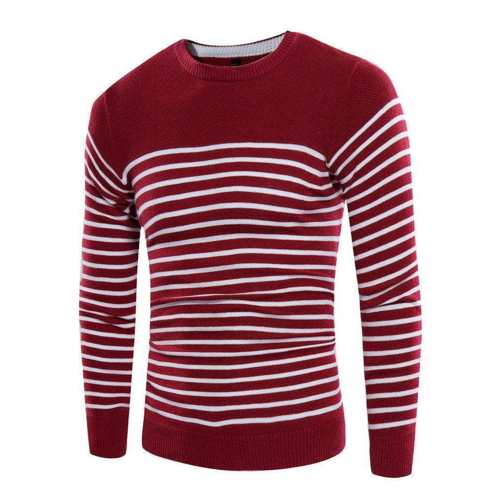 Gndfk Herbst und Winter Collar Pullover, männer gestreiften Pullover, self-Cultivation Pullover,EIN Bordeaux - Wein,2XL
