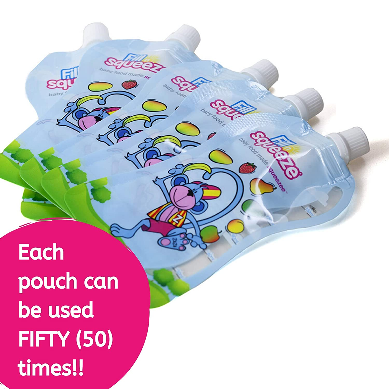 per la scuola yogurt e snack per frullati Fill n Squeeze Smooth Snack Pouch 10 sacchetti riutilizzabili da 150 ml per riempire e spremere il sacchetto di riempimento per bambini