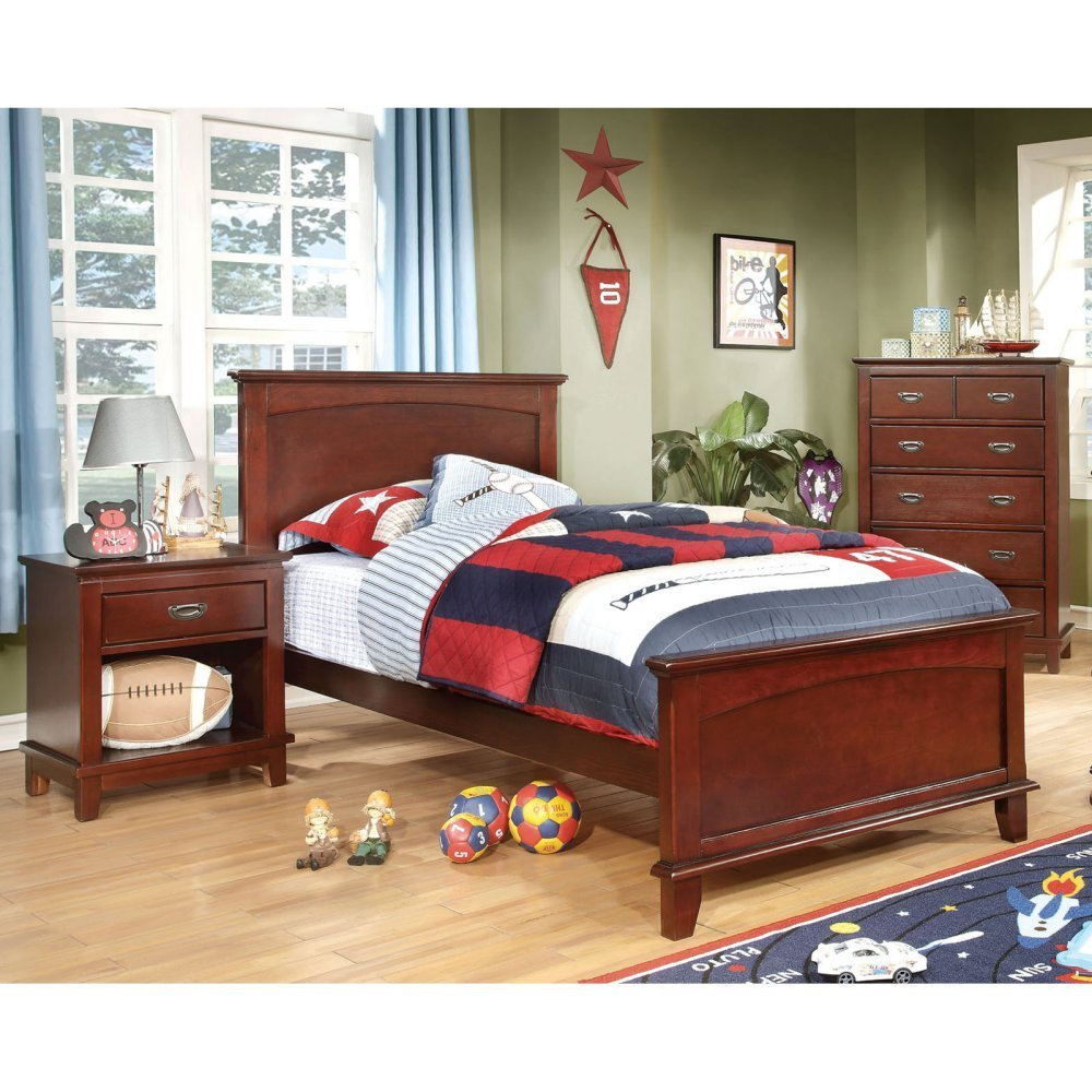 Adrian Inspired 3-Piece Bedroom Collection with Chest and Nightstand - Cherry