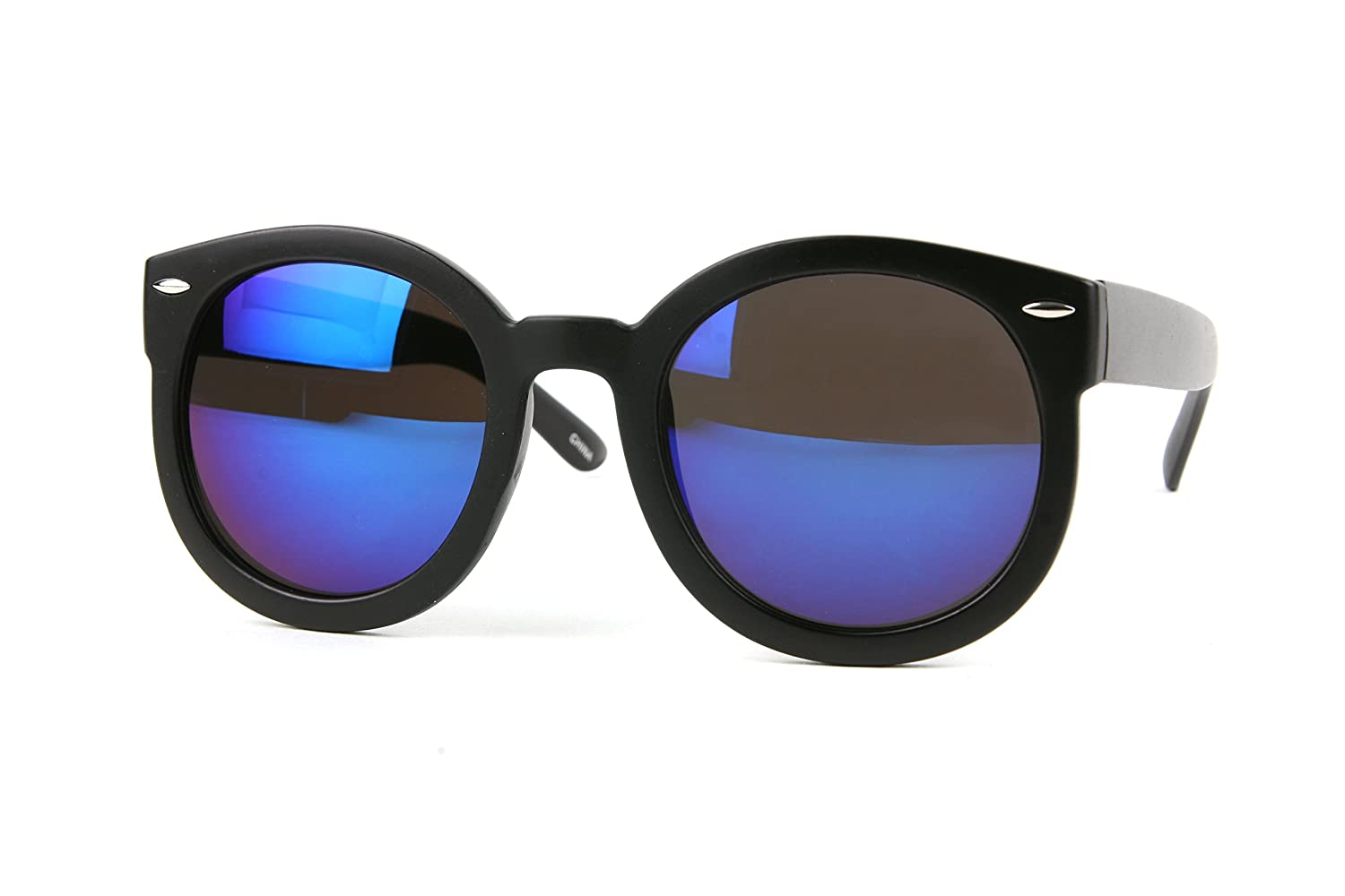 1305656e513 Amazon.com  Cool Mirror Lens Designer Fashion Womens Round Sunglasses P2187  (Black-BlueMirror Lens)  Clothing
