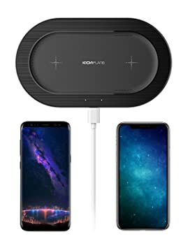 Cargador inalámbrico, ICONFLANG [5W] Cargador inalámbrico doble para iPhone X iPhone 8 Plus iPhone 8 Samsung Note8 S8 S8 Plus S7 S7 Edge S6 S6 Edge y ...