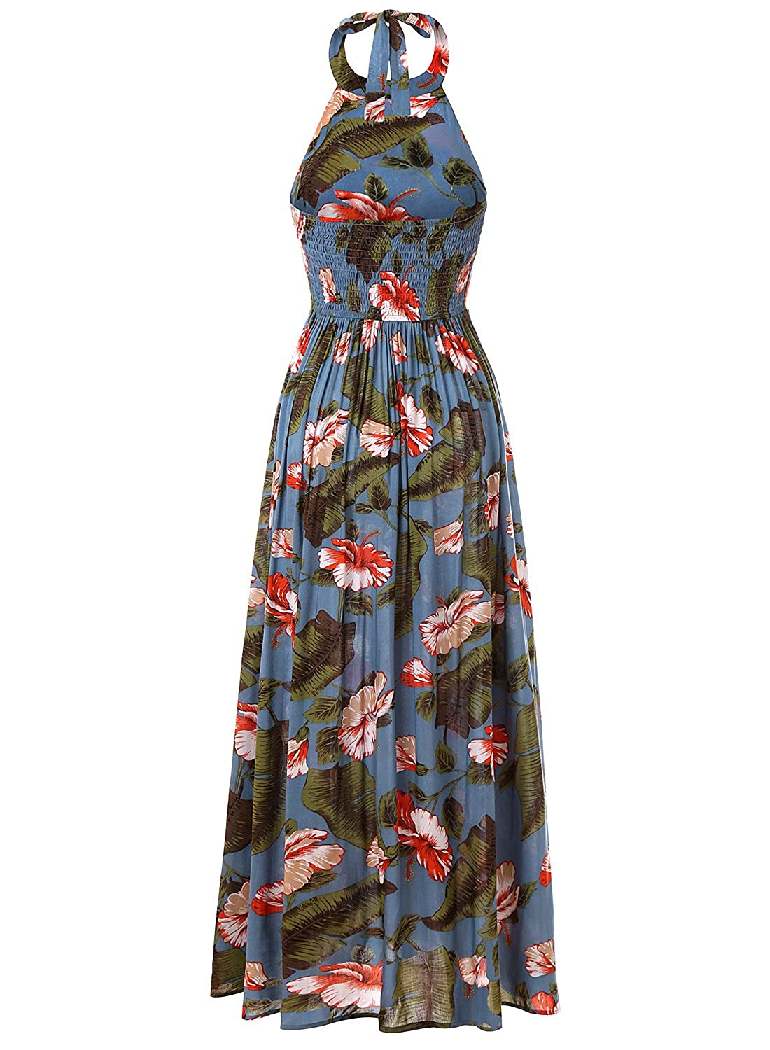 296454af3539 Blooming Jelly Women s Tropical Sleeveless Halter Neck Criss Cross Backless  Floral Print Maxi Dress (X-Small