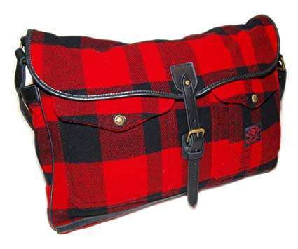 2ebbaa493c3e Image Unavailable. Image not available for. Color  Polo Ralph Lauren Mens  Buffalo Check Wool Messenger Bag Tote Red Black Plaid