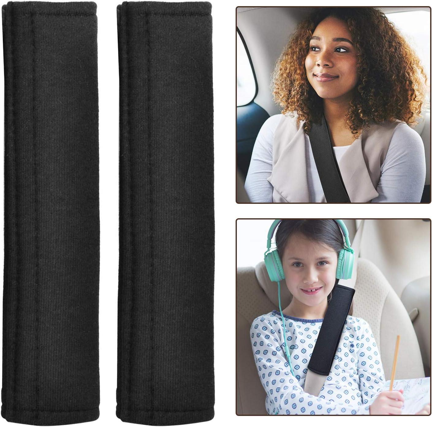 Protecci/ón Cintur/ón Seguridad Aodoor Cintur/ón Almohadilla Adjustable Funda Cintur/ón Coche para Beb/é Negro//Plata