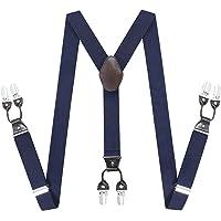 Gentleman Adjustable Suspenders Braces - Y Shape Elastic Belt with Sturdy Metal 6 Clips