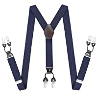 Gentleman Adjustable Suspenders Braces - Y Shape Elastic Belt with Sturdy Metal 6 Clips