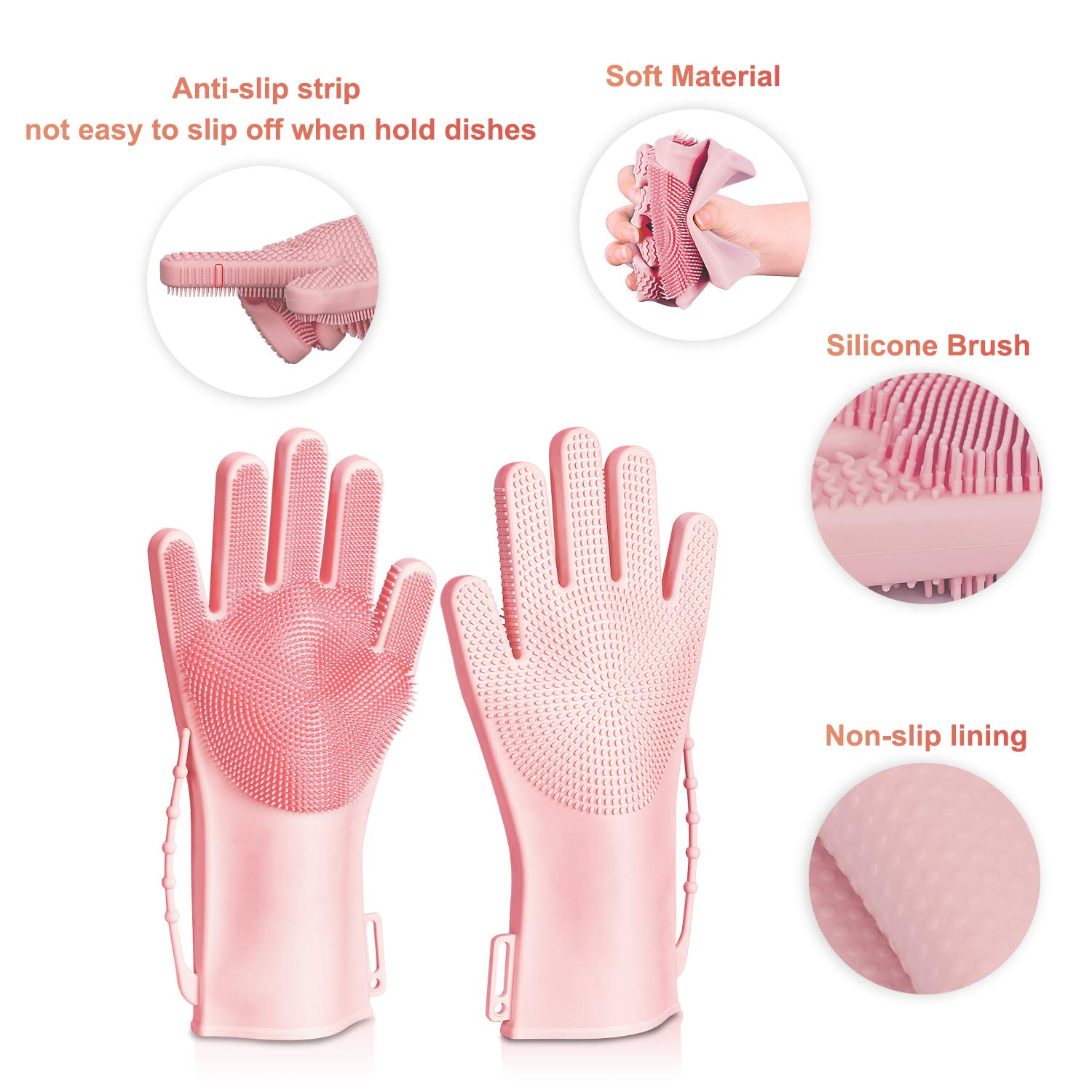 Reusable Heat Resistant Sponge Brush Gloves Car for Kitchen Magic Silicone Cleaning Gloves Bathroom and Pet VACNITE Washing Up Glove Dishwashing Scrubber with Bristles Non-Slip Cuff Strap Green