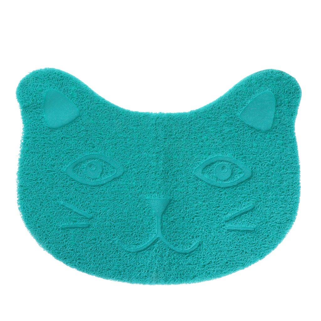 Hergon étanche Tapis de bac à litière pour chat, Nourriture pour animaux de nourriture pour chien chat PVC Plateau (bleu)