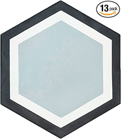 White//Black Rustico Tile and Stone RTS22.1 Casablanca Blue Cement Tile Pack of 13 8x 8