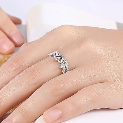 Elegante Tiara princesa corona boda banda anillo de compromiso ajustable novia de cumpleaños aniversario regalo para mujer esposa: Amazon.es: Joyería