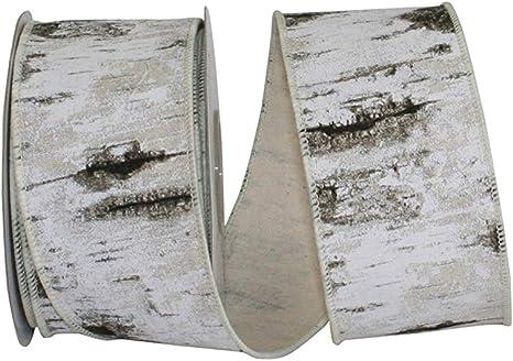 Birch Tree Canvas Wired Ribbon 10-Yard 4-Inch