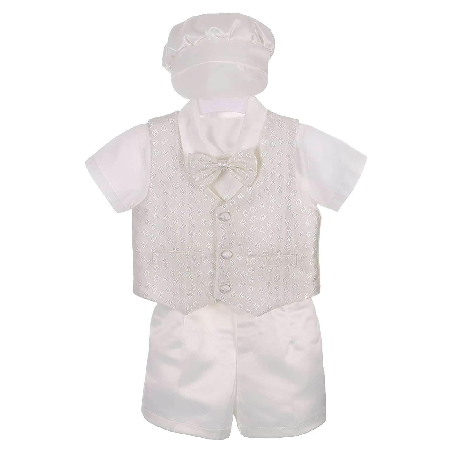 Lito Angels Baby Boys' 4 Pcs Baptism Christening Outfit Wedding Suit w/Bonnet Ivory