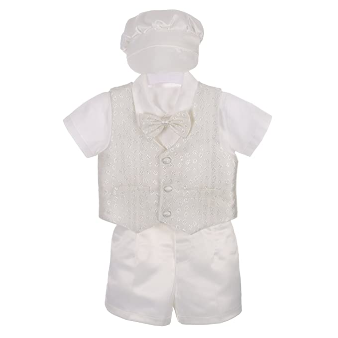 4a0dc75b8 Lito Angels Baby Boys' 4 Pcs Baptism Christening Outfit Wedding Suit  w/Bonnet Size