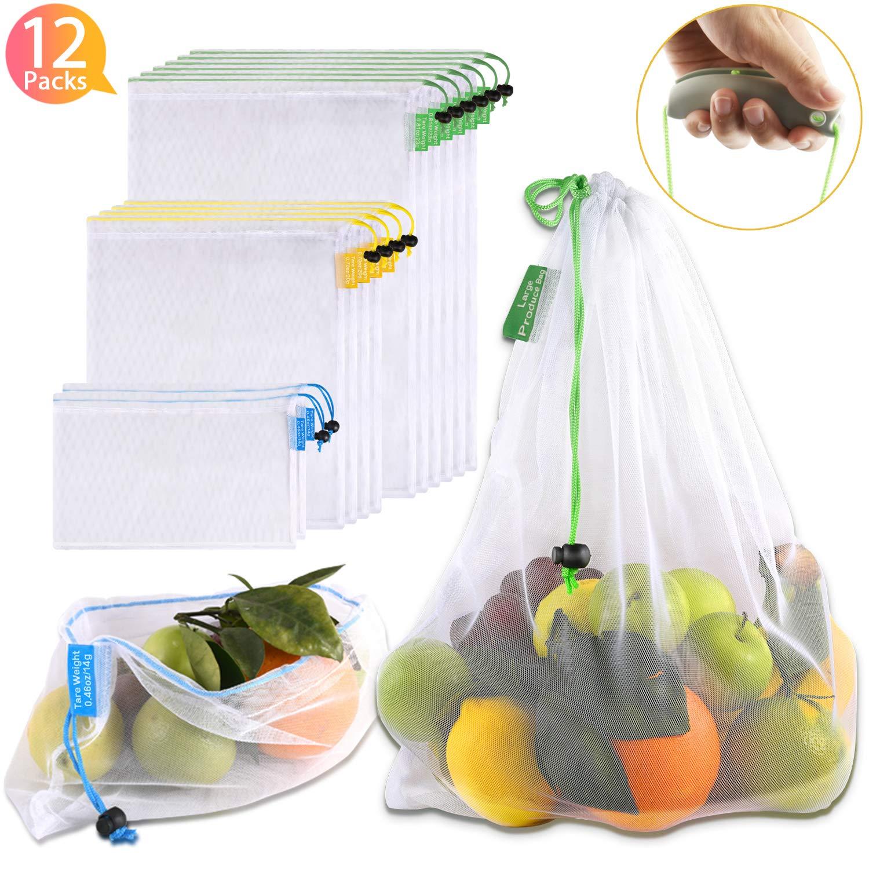 12 Piezas Bolsas Compra Reutilizables Ecol/ógicas Lavables Bolsa de Almacenamiento Transparente con Cord/ón para Frutas Juguetes Verduras Comestibles Penta Stars Bolsas Reutilizables de Malla