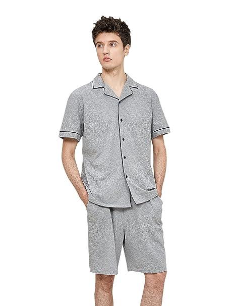 QianXiu Verano Conjunto de pijama Hombres Manga corta Ropa de dormir Algodón Pijama Cárdigan solapa Ocio