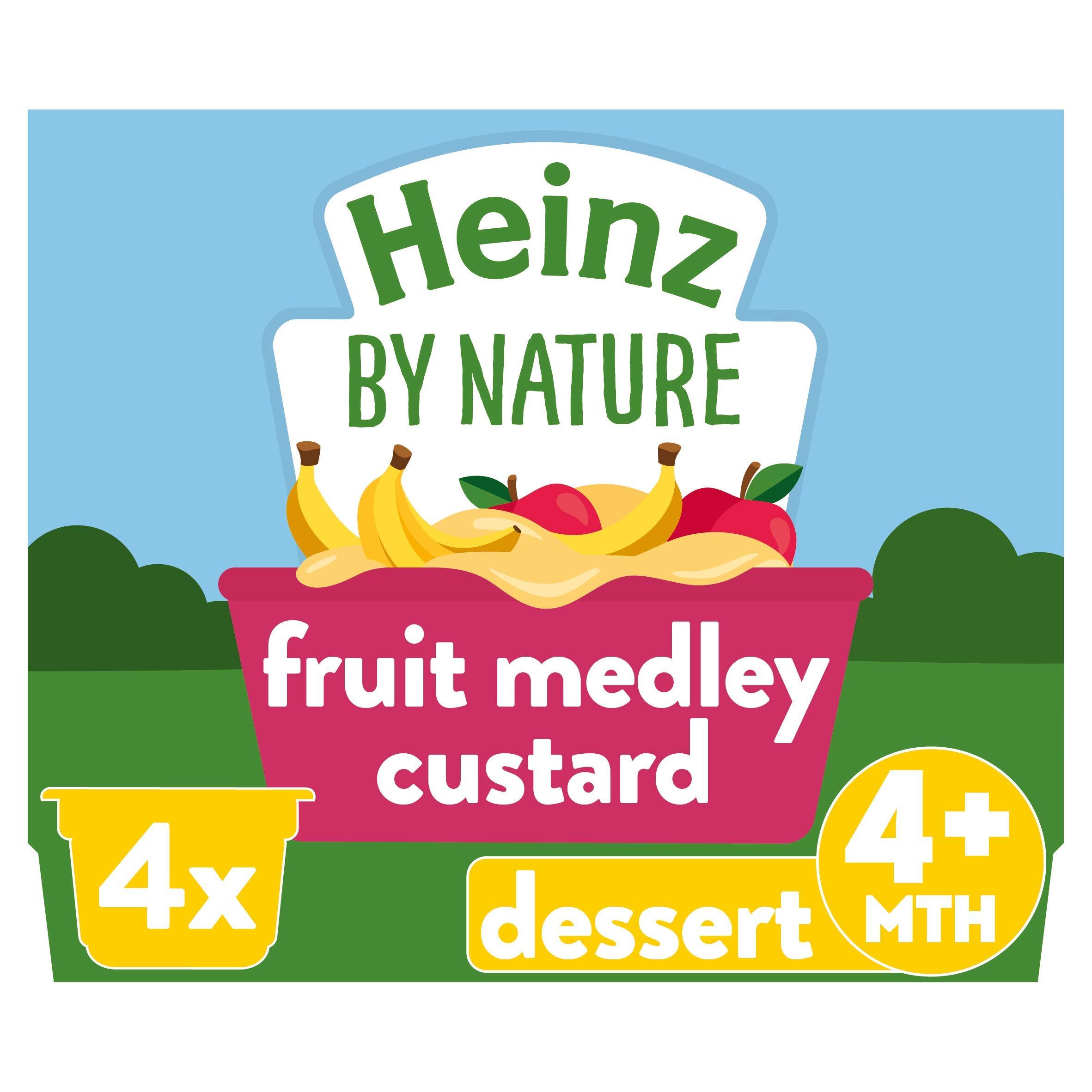 Heinz Fruit Medley Custard Dessert Pot, 4 x 100 g (Pack of 3)