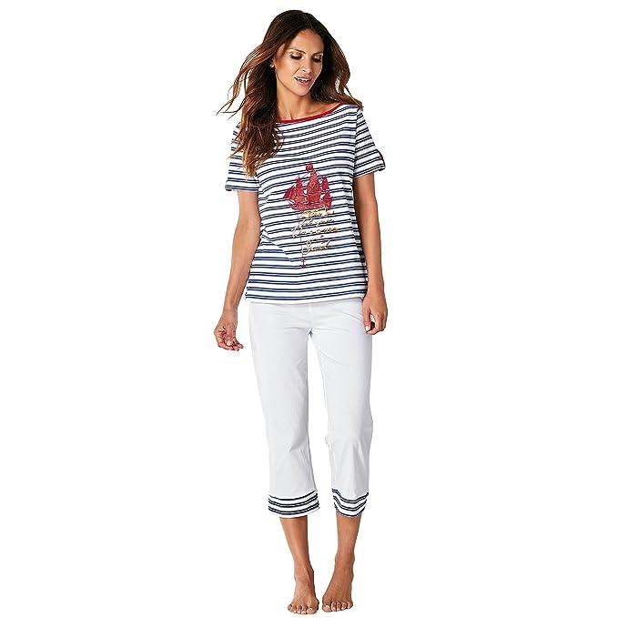 Pijama camiseta de escote barco con vivo a contraste by VencaStyle,RAYAS ROJO/BLANCO