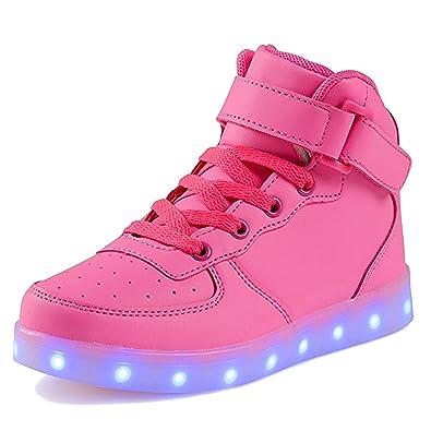 SAGUARO® 7 Farben LED Schuhe USB Aufladen Leuchtschuhe Licht Blinkschuhe Leuchtende Sport Sneaker Light Up Turnschuhe Damen Herren Kinder, Rose 36