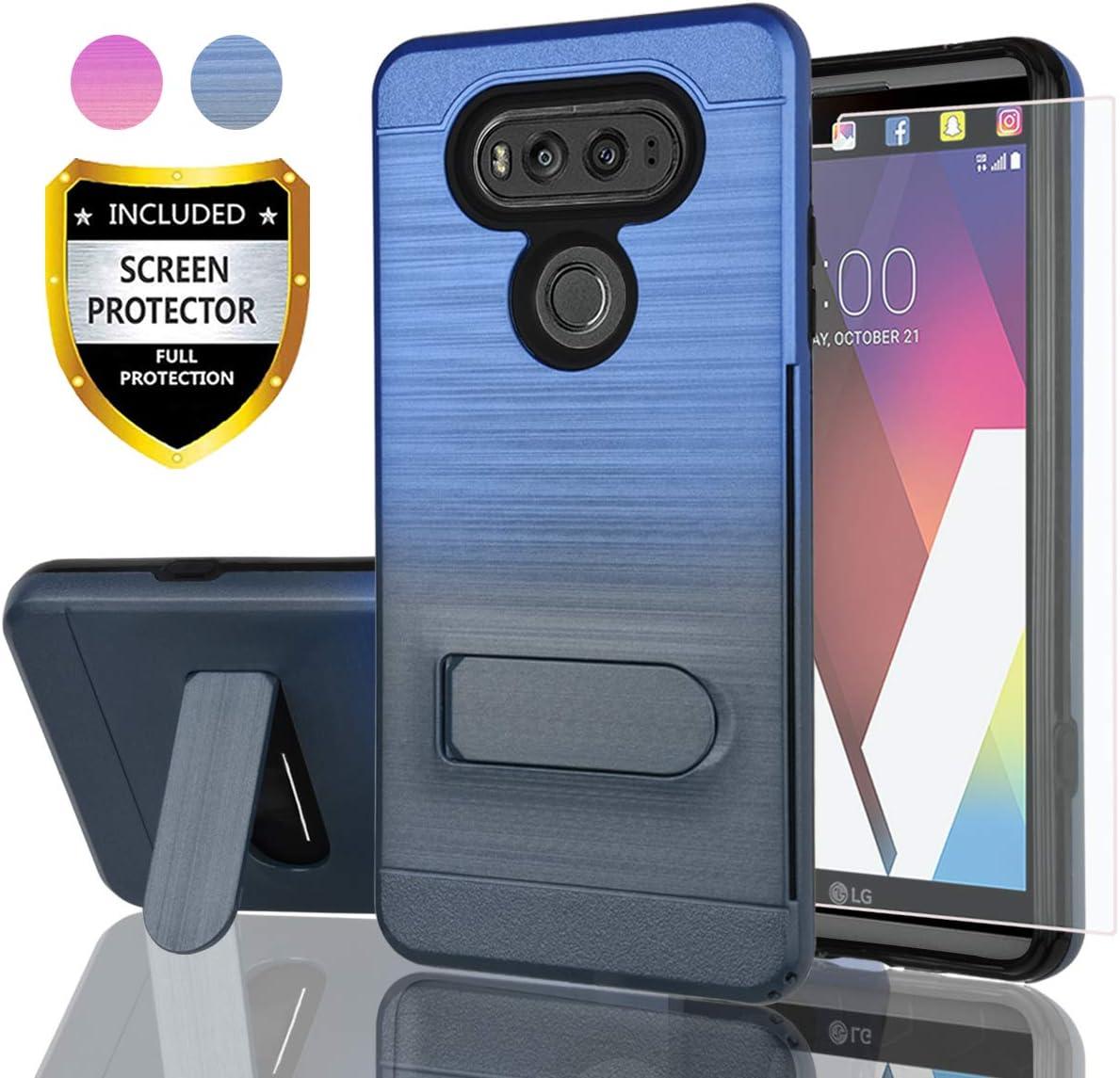 AYMECL LG V20 Case,LG V20 Case with HD Screen Protector,[Card Slots Holder] Plastic TPU Hybrid Gradient Color Shockproof Case for LG V20-GC Blue&Cyan-1