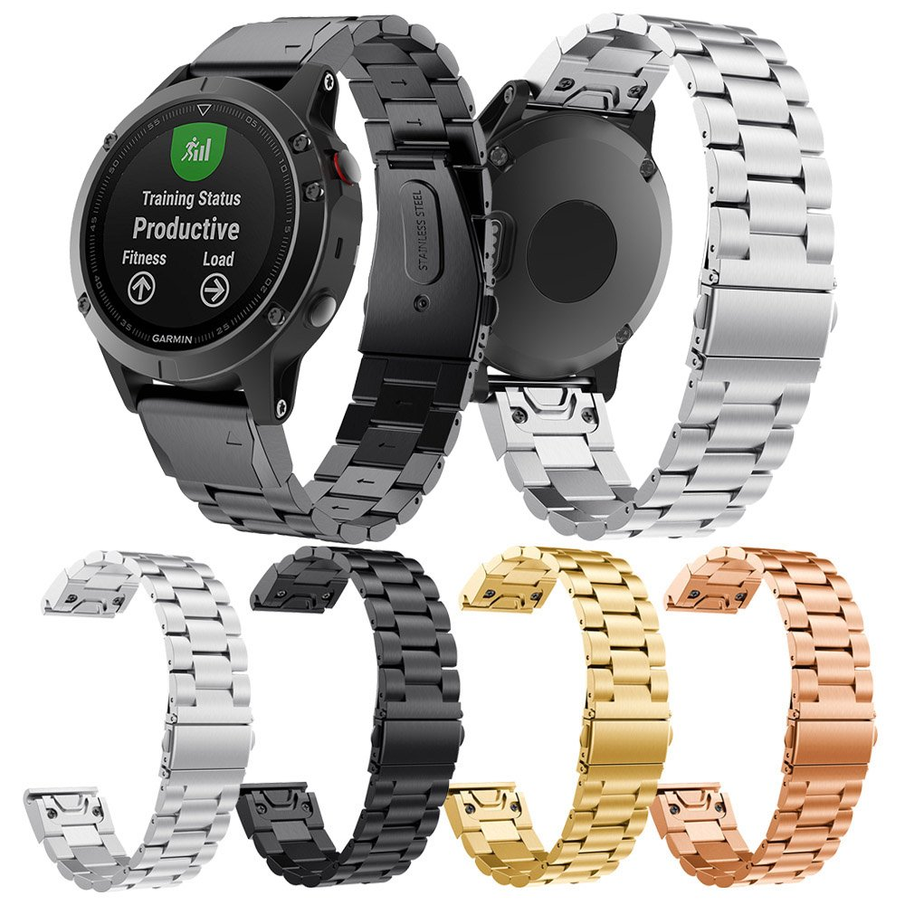 Aresh Compatible Garmin Instinct//Garmin Fenix 5 Quick Fit Band Stainless Steel Metal Band NOT fit Fenix 5X//5S Rose Gold 22mm Width Band Compatible Garmin Instinct//Garmin Fenix 5