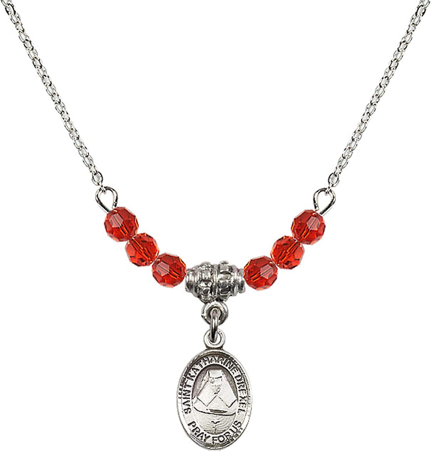 Bonyak Jewelry 18 Inch Rhodium Plated Necklace w// 4mm Red July Birth Month Stone Beads and Saint Katharine Drexel Charm