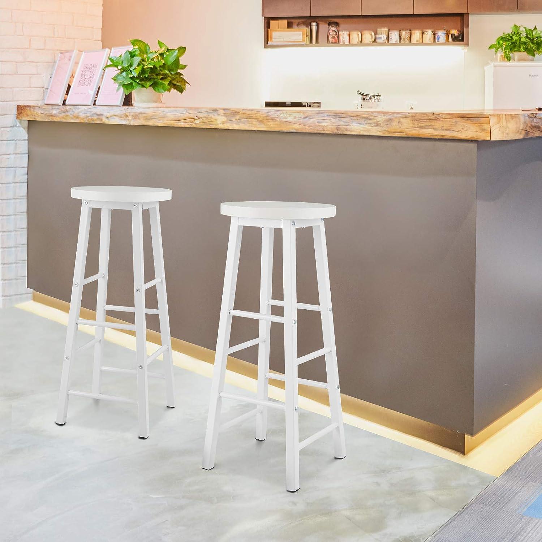 WOLTU 2X Taburete de Bar Muebles Cocina Silla de Comedor Taburete Alto para Salon Cocina Estructura de Metal MDF Blanco BH130ws-2