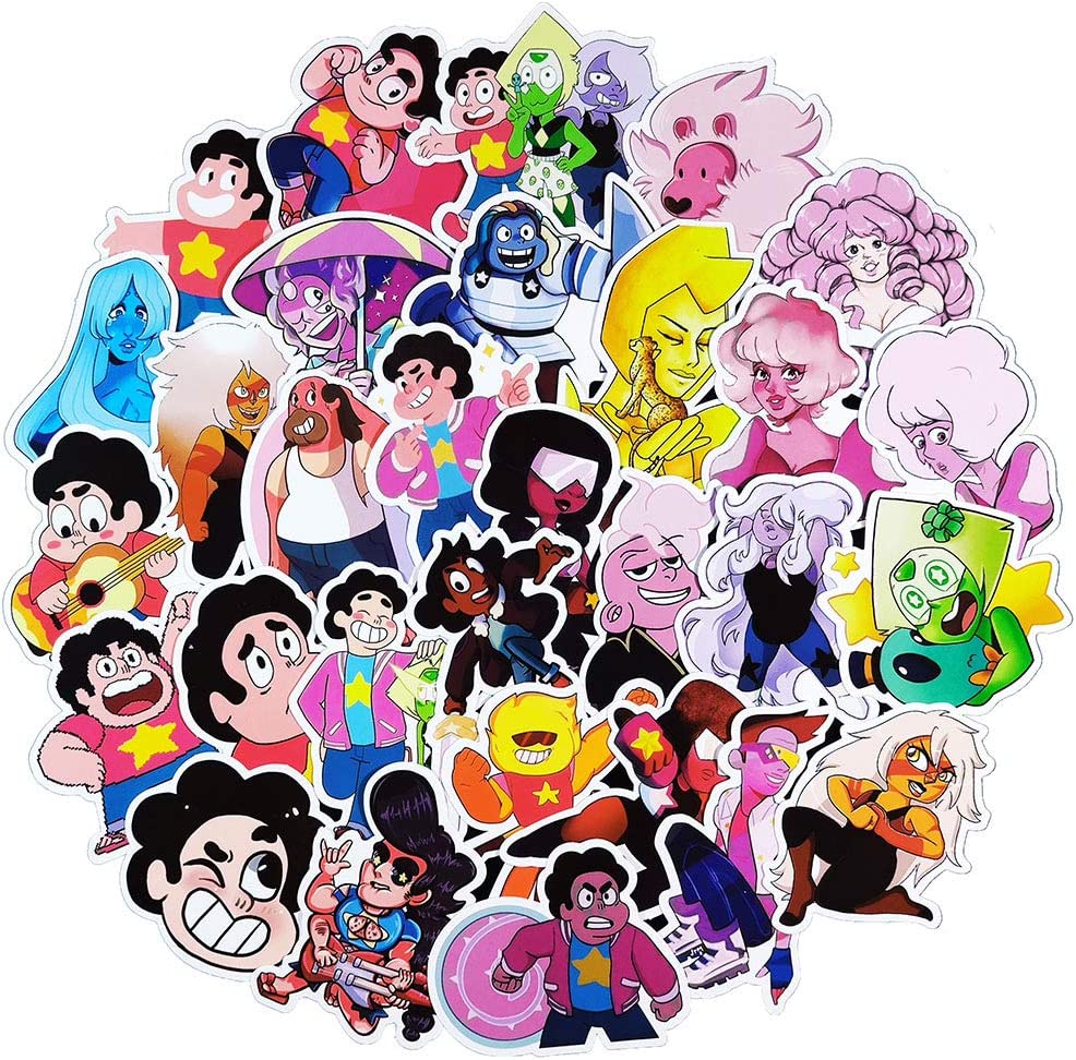 50 Pcs Cute Cartoon Anime Steven Universe Vinyl Stickers, Aesthetic Waterproof Stickers for Laptop Water Bottle ComputerCar Travel Case Flasks MacBook,Stickers Decals Pack for Kids Teens Boys Girl.