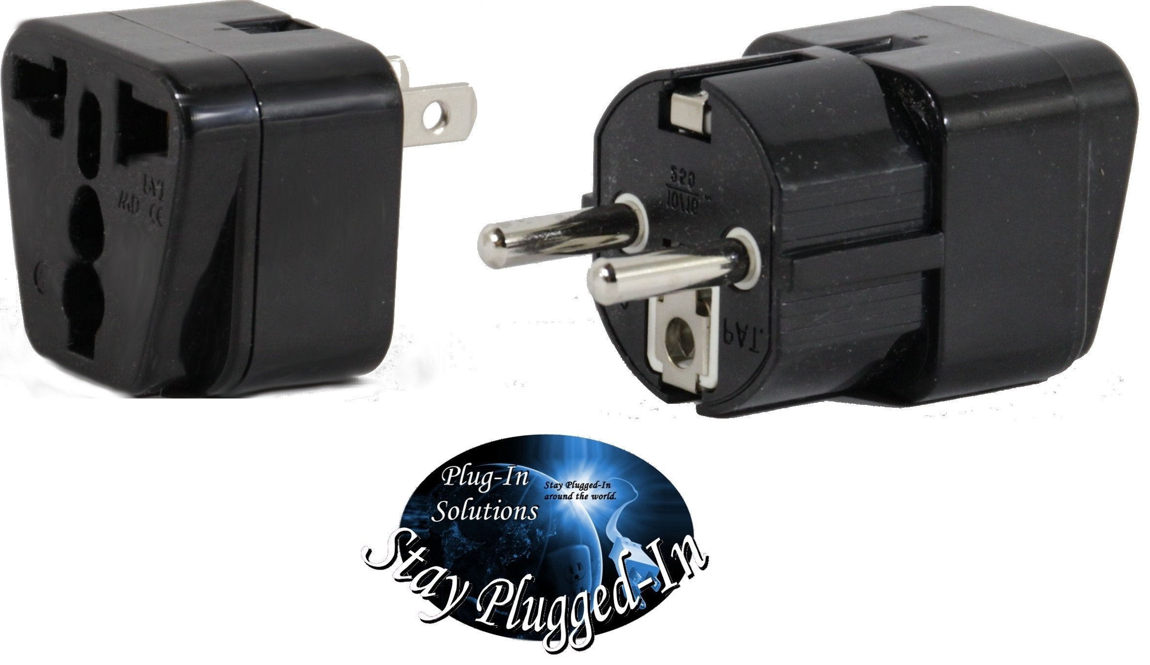 PERU Travel Adapter Plug for USA/Universal to South America Type A & E (C/F) AC Power Plugs Pack of 2 by Plug in Solutions (Image #3)