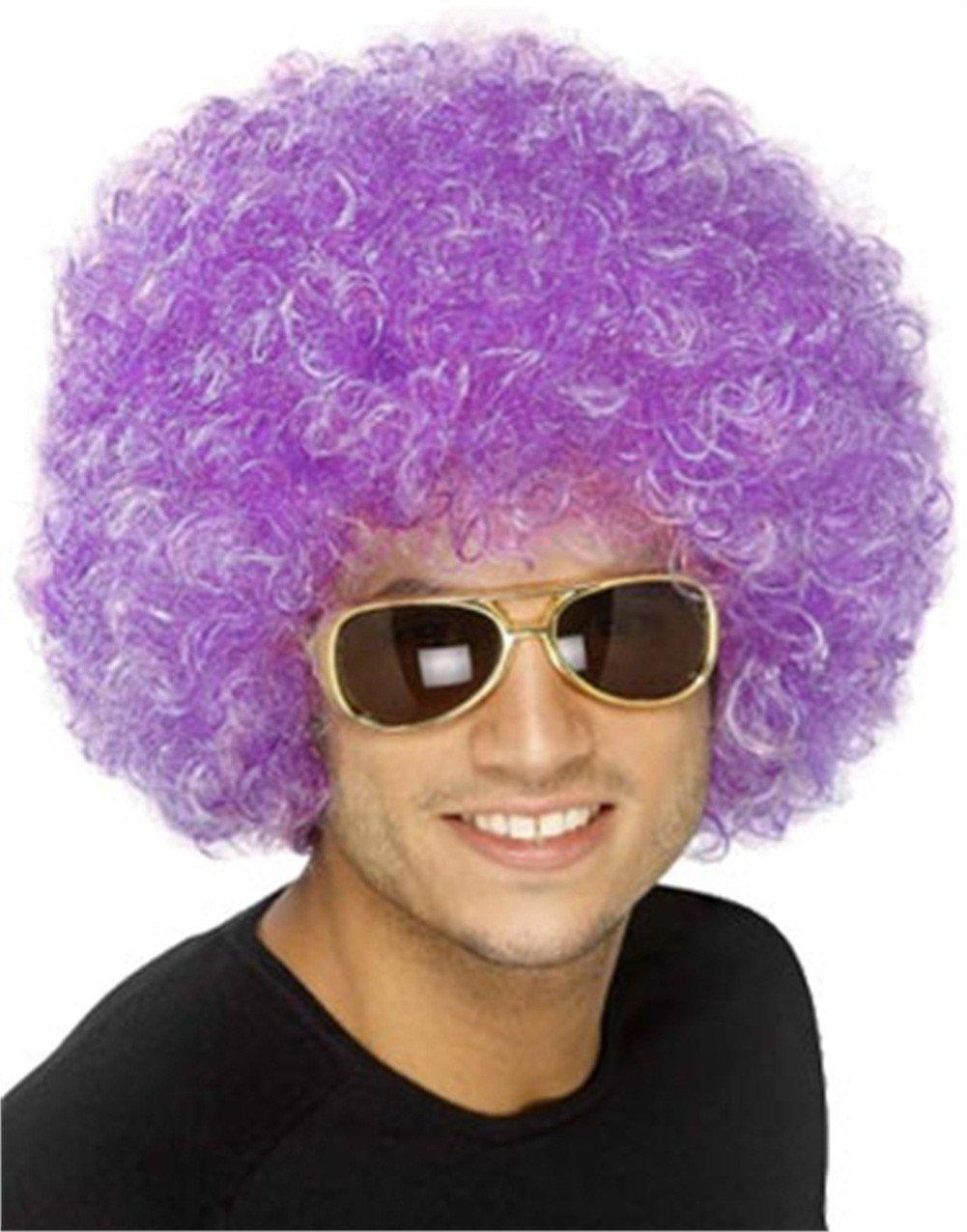 New Mens Womens Child Costume Purple Afro Disco Wigs