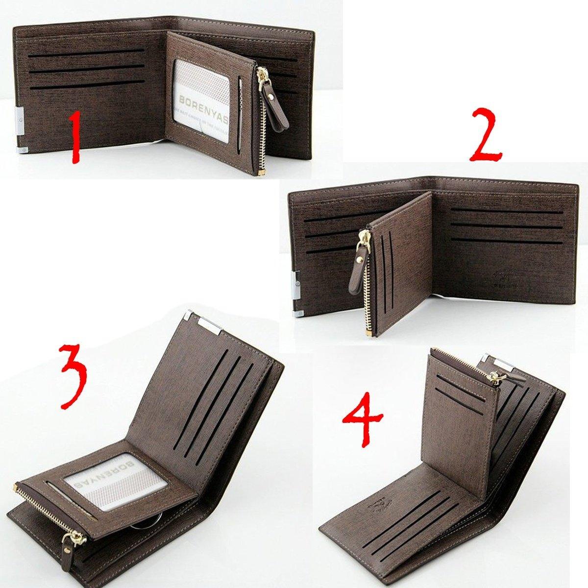 Men Leather Zip Bifold Wallet Money Clip Card Holder Pocket Purse Case Clutch