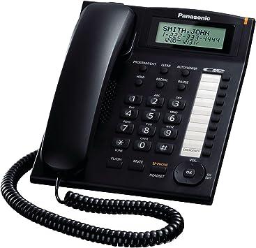Amazon Com Panasonic Kx Ts880b Integrated Corded Telephone Black Corded Phone With Headset Jack Electronics