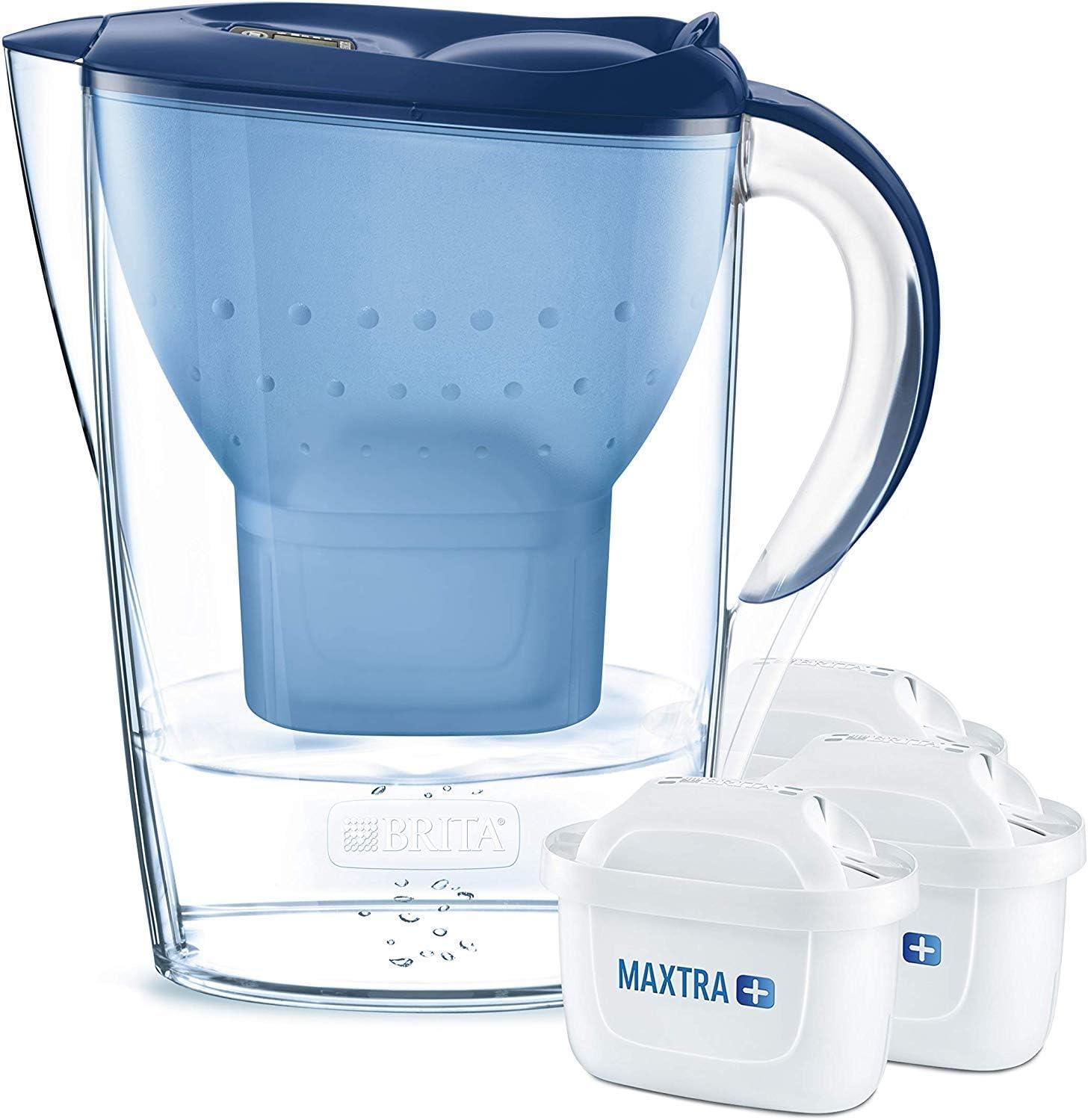 BRITA Marella – Jarra de Agua Filtrada con 3 cartuchos MAXTRA+ – Filtro de agua BRITA que reduce la cal y el cloro – Agua filtrada para un sabor excelente – Filtro