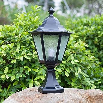 Vintage E27 Lámpara de jardín con pedestal negro Aluminio y vidrio Lámparas de camino Lámpara exterior Diseño de columna Lámpara de bolardo para césped Patio, 32 * 19 * 59CM: Amazon.es: Iluminación