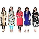 Pramukh Fashion Women's Cotton Kurta(Combo Of 5,Multicolor, Free Size)