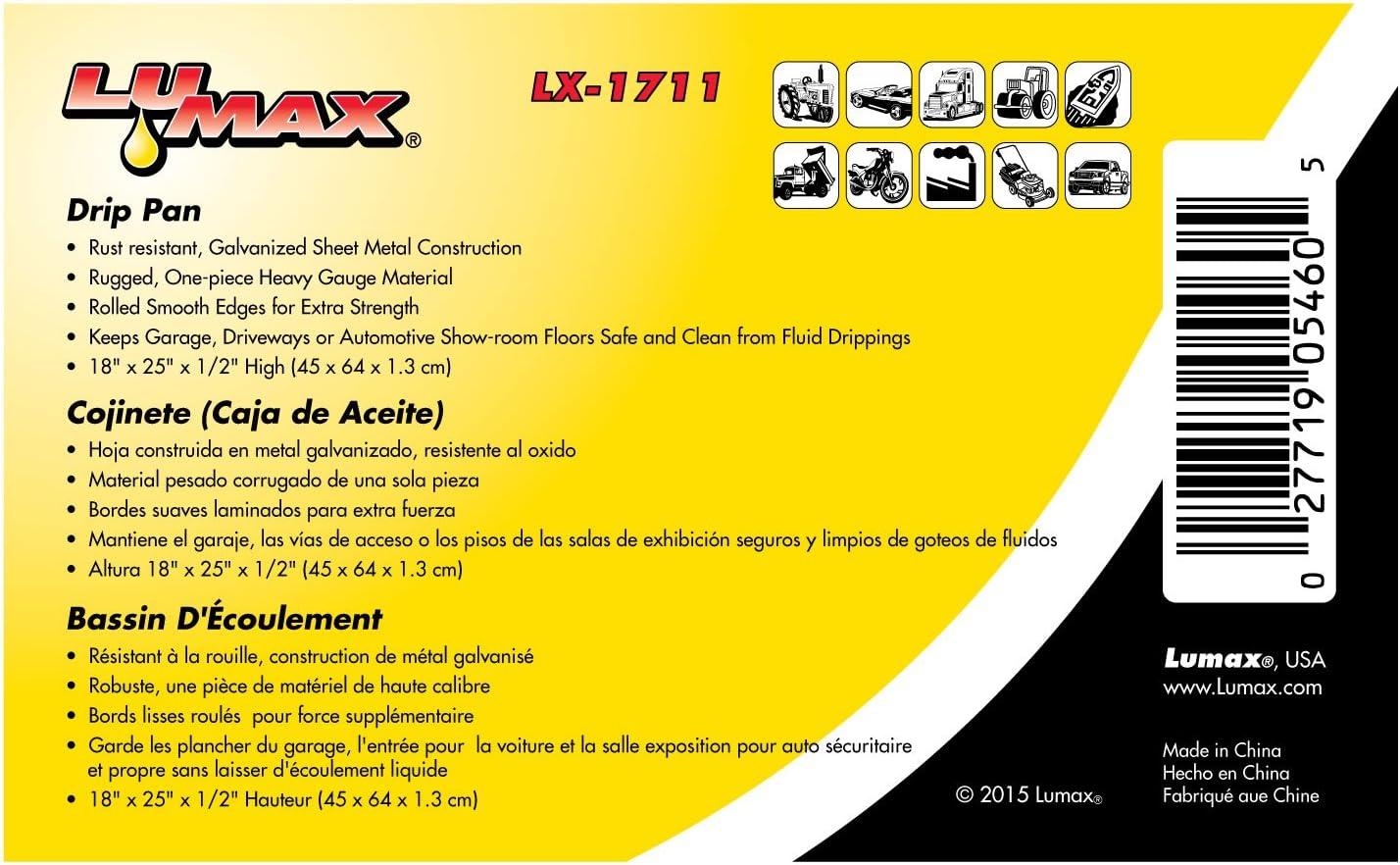 Lumax LX-1711 Silver 18 x 25 x 1//2 Galvanized Drip Pan