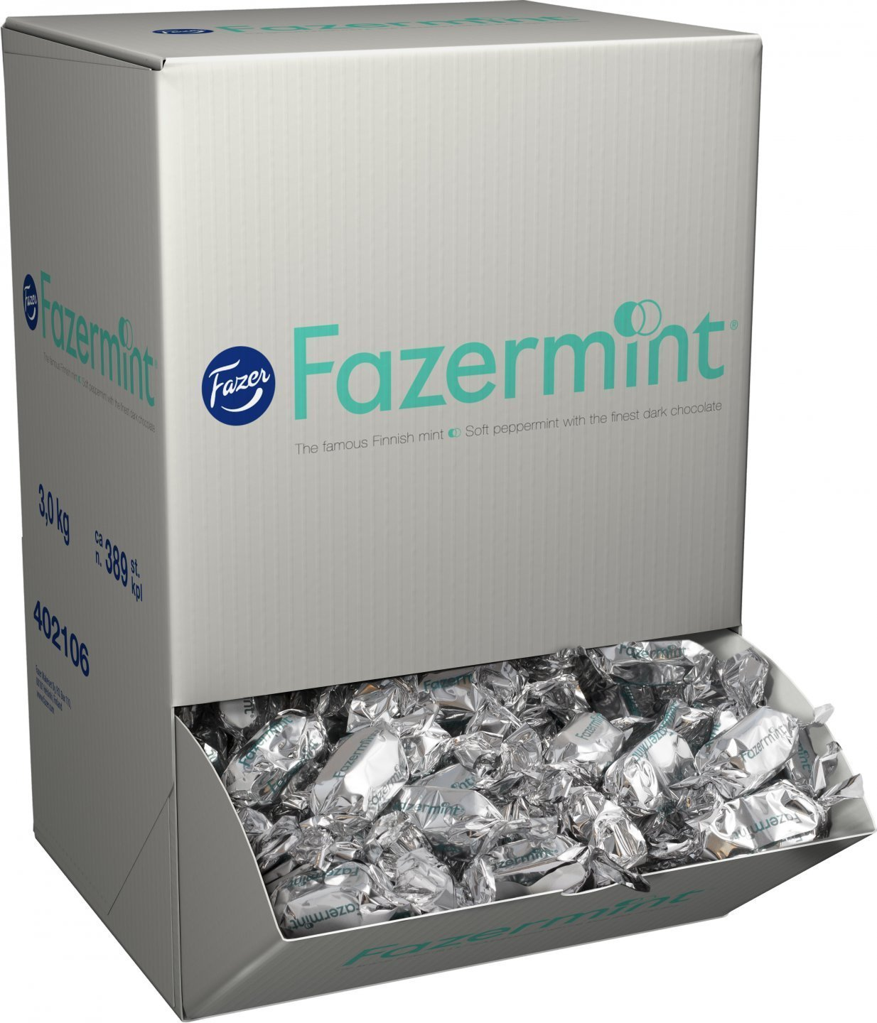 Fazer Fazermint - Original - Finnish - Creamy - Mint - Dark Chocolate - Chocolates - Pralines - Candies - Box 3,0 kg by Fazer