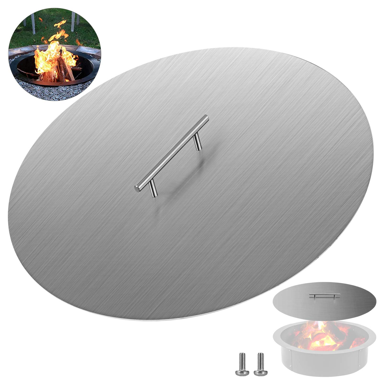 VBENLEM Fire Pit Lid 20 Inch Round Fire Ring Lid Cover 1.5mm Thick 304 Stainless Steel Burner Pan Cover for Patio Fire Pit Pan by VBENLEM