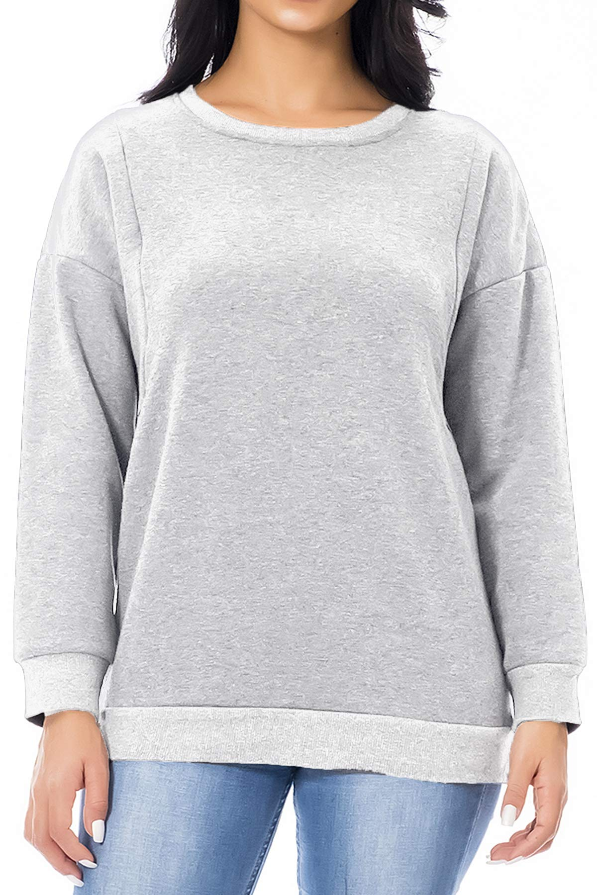 Smallshow Women's Fleece Maternity Nursing Sweatshirt Breastfeeding Tops X-Large Light Grey