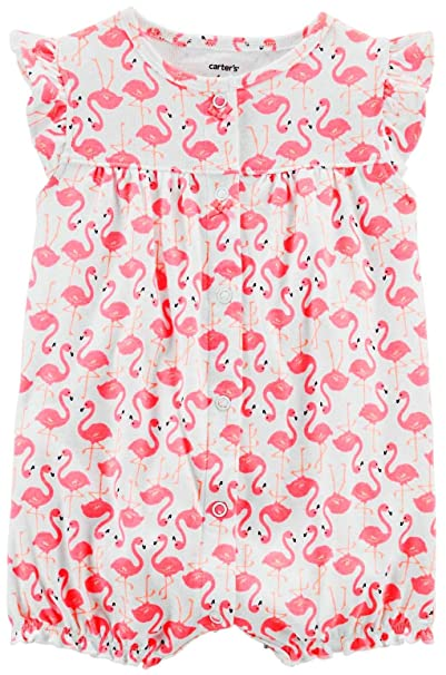 a9bcb1278d46 Image Unavailable. Image not available for. Color  Carter s Baby Girls  Flamingo  Snap up Romper  Pink White ...