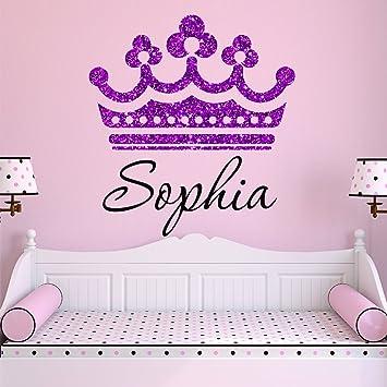 Girls Princess Tiara Purple Glitter Crown Personalized Custom Name Nursery Wall  Decal, SIZE SMALL Girls