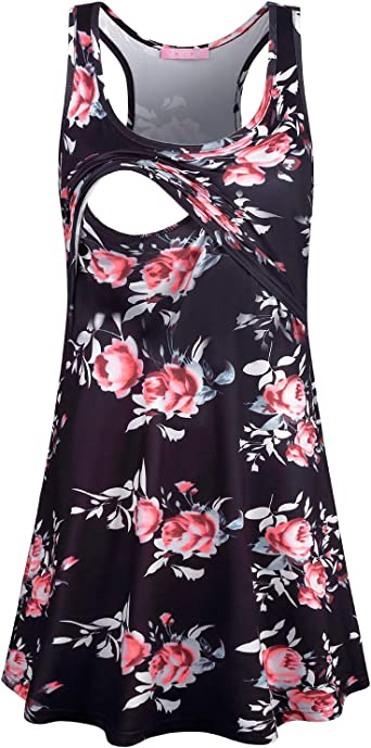 Joymom Floral Maternity Dress Womens Silky O Neck Sleeveless Nursing Nightshirts Pregnancy Trapeze Flowing Knee Length Tank Racerback Dresses Baby Shower Boutique Clothes Red Flower Black M At Amazon Women S Clothing Store