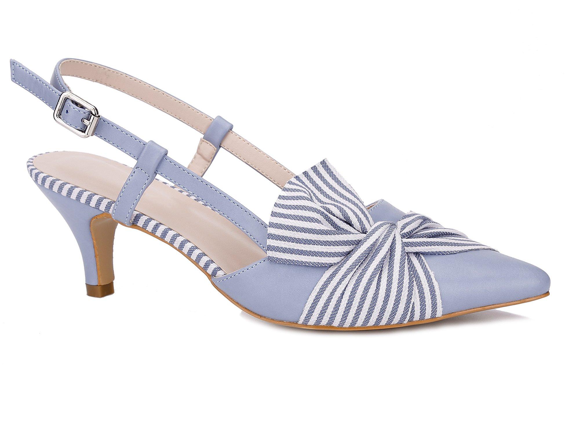 Greatonu Women Shoes Comfortable Kitten Heels Slingback Dress Pumps (9 US/40 EU, Light Blue with Stripe Bow Tie)