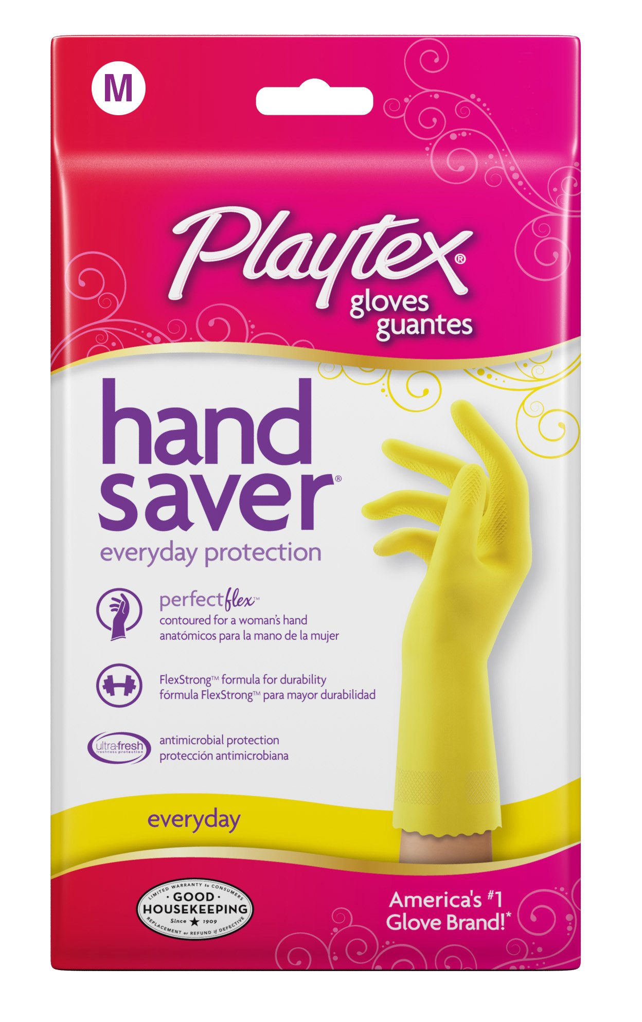 Playtex Hand Saver Premium Latex Rubber Gloves, Medium (Pack of 6) by Playtex