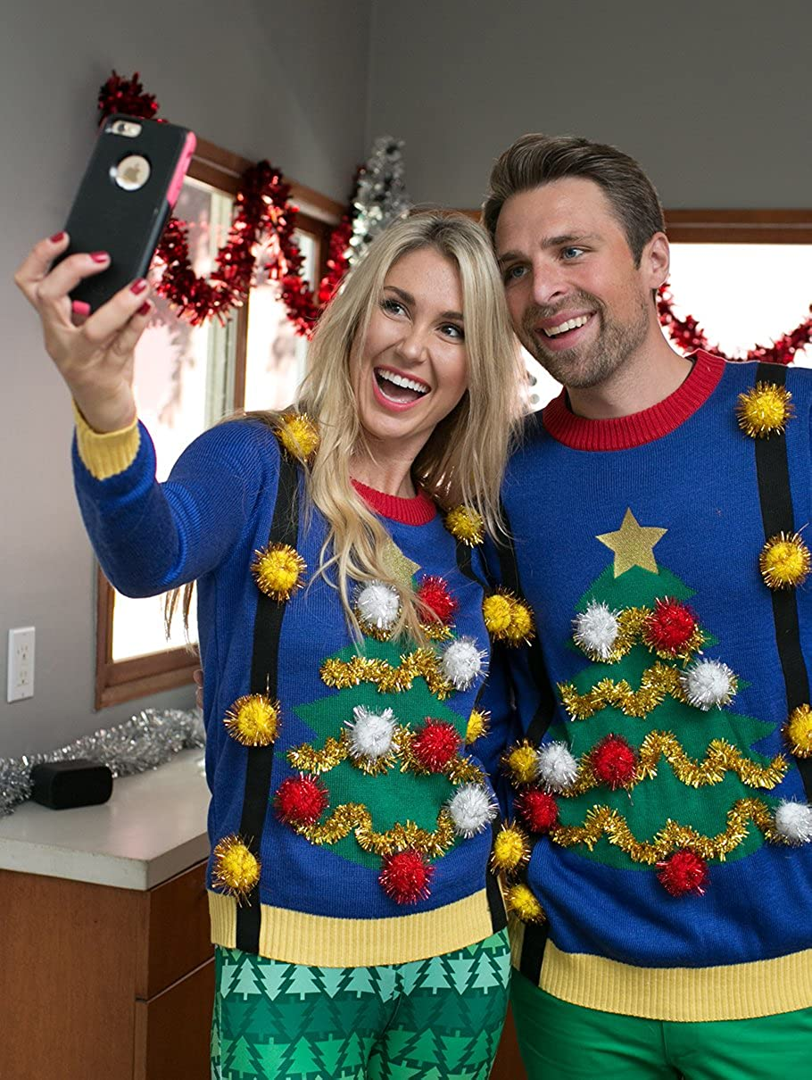 1fb99ce3c6c Amazon.com  Tipsy Elves Women s Tacky Christmas Sweater-Christmas Tree  Sweater with Suspenders  Clothing