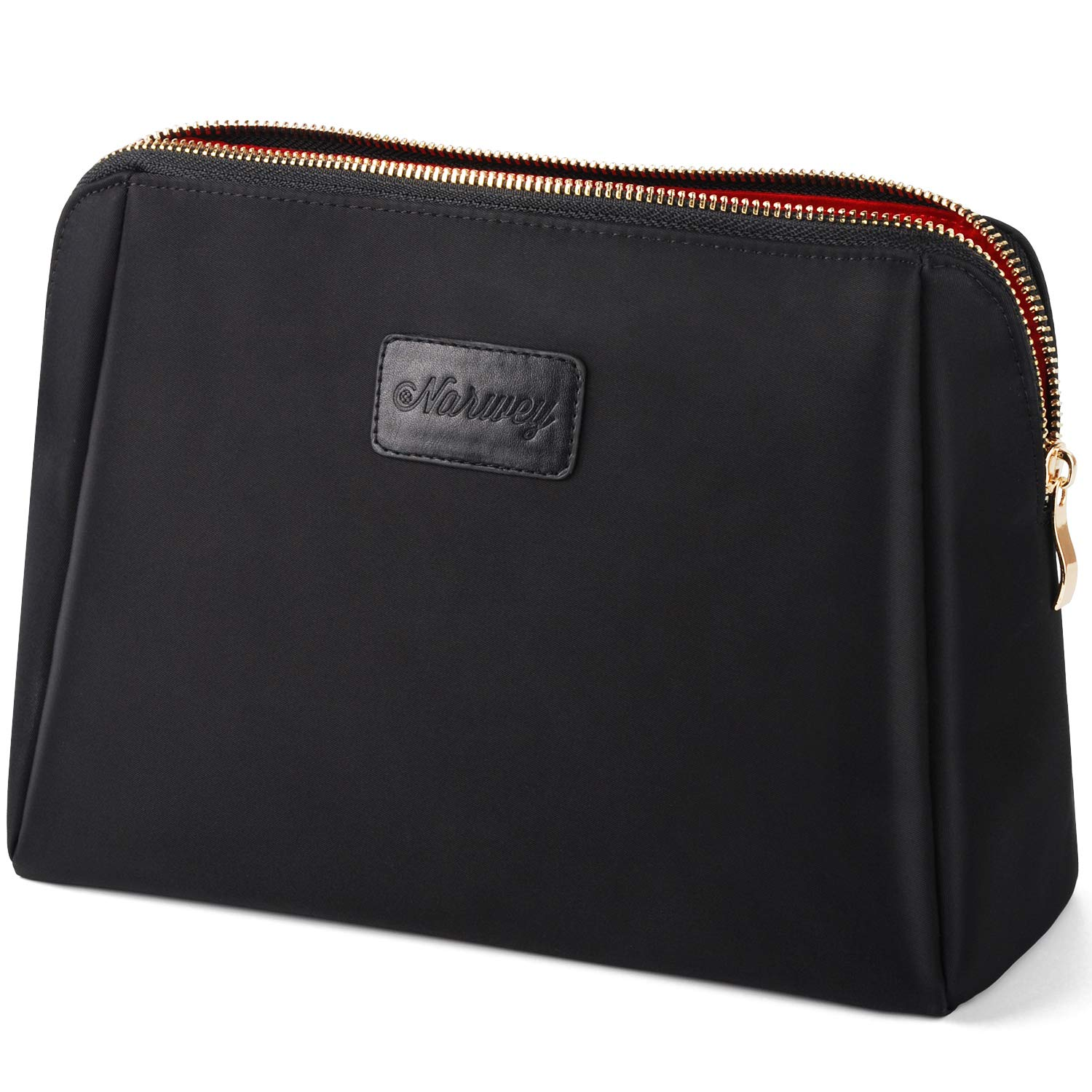 Large Makeup Bag Cosmetic Clutch Handy Pouch for Women (Black) Narwey