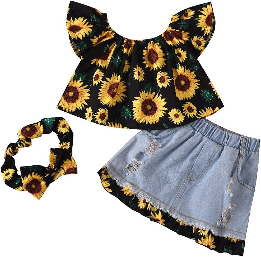 تي شيرت بأكمام قصيرة من RCPATERN Baby Girl ملابس صيفية للأطفال الرضع بدون أكمام مزود بكشكشة عباد الشمس + سروال قصير سادة 1-6T