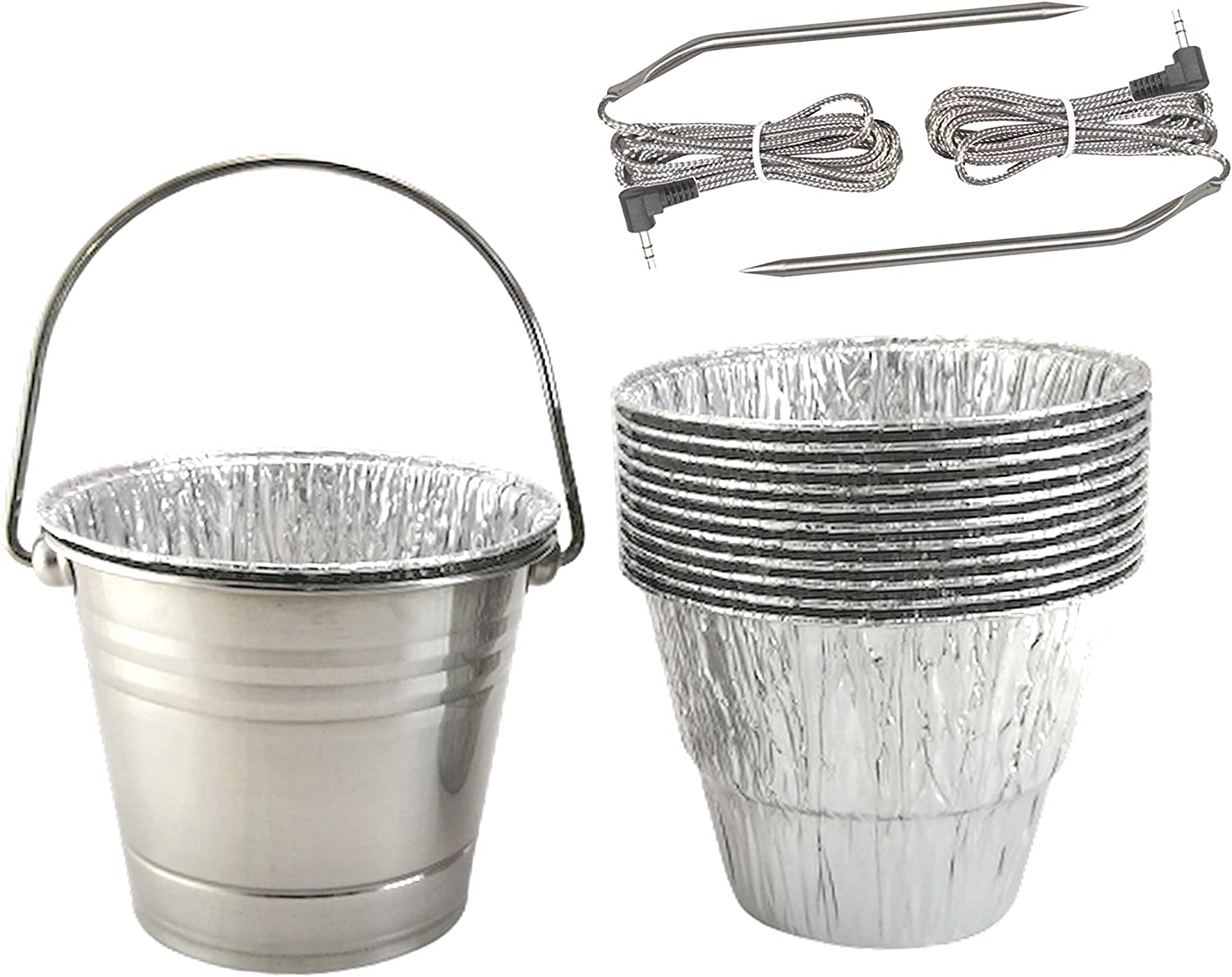 BIG PART Replacement Disposable Grease Bucket Liner,Stainless Steel Drip Bucket,Meat Probes Fit for Camp Chef Wood Pellet Grill & Smoker
