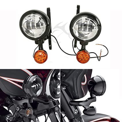 Amazon.com: XFMT Auxiliary Fog Lights Housing Bracket Turn Signal For Harley Electra Glide 97-13: Automotive