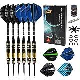 GOOSO Professional Steel Tip Darts Set with 12pcs Dart Flights + Dart Sharpener + Magnetic Case + Darts Tool (6 Pack)
